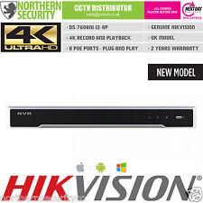 4TB 4K UHD 8 CH 8 POE H.265 12MP HIKVISION DS-7608NI-i2/8P NVR 80MB VCA ONVIF