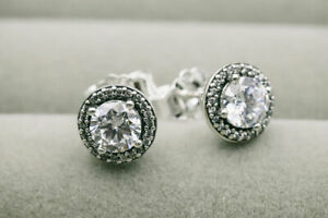 Authentic Pandora 296272CZ Silver 925 ALE Round Sparkle Stud Earrings