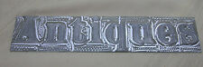 """Vintage Sign """"Antiques"""" Made From Printing Press Letters Metal 9 7/8"""" X 2 1/8"""""""