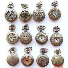 12pcs Vintage Pendant Necklace Pocket Quartz Watch Women Chain Men's Punk Watch