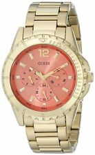GUESS U0590L1 Coral Gold-Tone Hi-Energy Women's Multifunction Watch NEW**