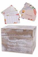 Rustic Wooden Recipe Box with 100 blank 4x6 Recipe Cards, 16 Tab Dividers