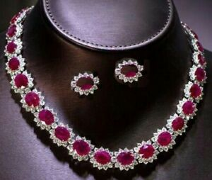 NATURAL PRECIOUS GEMSTONES RUBY OVAL NECKLACE EARRINGS  IN PLATINUM POLISH