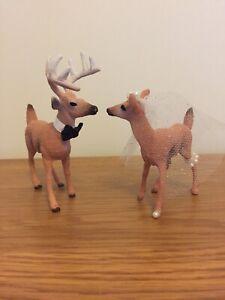Deer Wedding Cake Topper-Rustic Bride & Groom