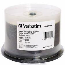50 New Verbatim 8X White Inkjet Printable DVD-R 94854 [FREE USPS Priority Mail]