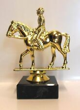 GOLD HORSE & RIDER TROPHY ROSETTE AWARD SHOW JUMPING FREE ENGRAVING FH06G CO16