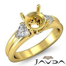 3 Stone Fine Diamond Trillion Round Mount Engagement Ring 14k Yellow Gold 0.6Ct