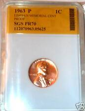 1963 P SLABBED PROOF LINCOLN MEMORIAL CENT - PROBLEM COINS -TOUCHED BY SLABBER