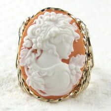 Grecian Goddess Orange Cameo Ring 14K Rolled Gold Jewelry Resin Size Selectable