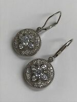 925 Sterling Silver Flower Drop Dangling Lever Back Earrings - Round CZ Stones