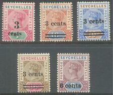 SEYCHELLES 1893/1901 QV Surcharges (5) MLH/MNH