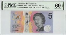 Australia 2016 P-62a Pmg Superb Gem Unc 69 Epq 5 Dollars