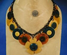 Yellow & Green Flower BAKELITE GUITAR PICKS Button Poker Chips Chain NECKLACE