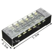 6 Position 600V 15A  Double Row Wire Barrier Block Screw Terminal Strip Panel