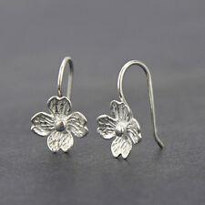 925 Silver Lovely Matt Flowers Dangle Drop Threader Earrings For Women Jewelry