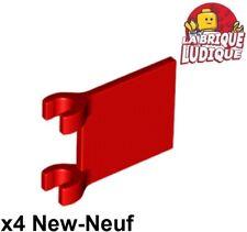 Lego - 4x Flag drapeau 2x2 rouge/blanc 2335 NEUF