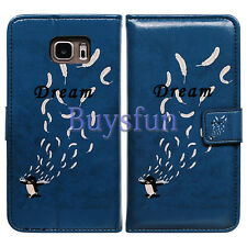 Bcov Black Penguin Feather Leather Wallet Cover Case For Samsung Galaxy Note 5