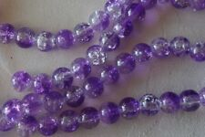 50 Purple/Crystal 8mm Crackle Beads #cr0013 Combine Postage-See Listing