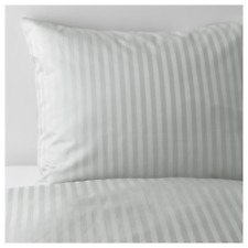 Ikea NATTJASMIN Twin Duvet Cover w/Pillowcase Bed Set Striped Gray NEW