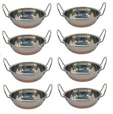 8 x Copper Base Round Stainless Steel 14cm Balti Curry Serving Dishes With Handl