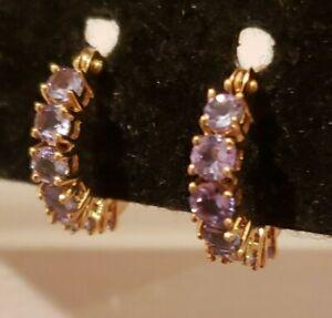 14k Yellow Gold Tanzanite Huggie Hoop Earrings,  1.15 Cttw