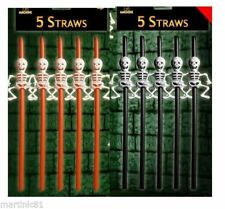 20 x Skeleton Halloween Straws Black & Orange Party Table Drinking Decorations