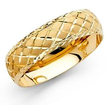 14k Yellow Gold 6mm Diamond Cut Men's Wedding Band Ring - all size