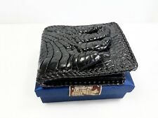 Authentic M Crocodile Skin Men's Bifold Big Hand Foot Shiny Leather Weave Wallet