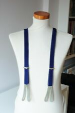 Vintage 1950s leather tipped button braces. Blue/grey. Excellent condition.