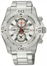 Seiko SNAE23 Chronograph Silver Dial Alarm Watch