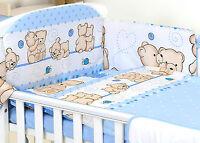 BLUE BABY GIRL BOY 3,4 PC SET COT - COT BED NURSER BABY SET- BUMPER, COVERS