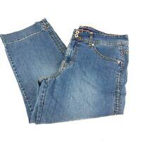 Gloria Vanderbilt Womens Crop Jeans Sz 12 Blue Medium Wash Banded Leg