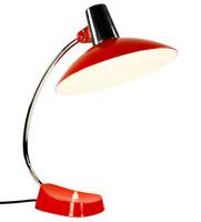 Helo Schreibtisch Leuchte orangerot & chrom Designer Lampe Vintage 60er 70er