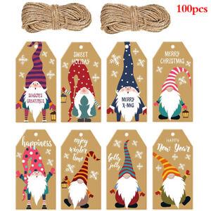 100pcs Merry Christmas Gift Tags Kraft Paper Card Hang Tag Gift Bags Decoratizh