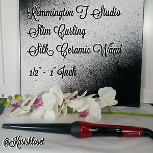 "Remmington 1/2""- 1"" T Studio Slim Featuring Silk Ceramic Curling 410 Degree Wand"