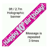 10TH BIRTHDAY PARTY PINK BANNER HOLOGRAPHIC 9FT/2.7M