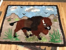 Vintage Latch Hook Completed Rug Wall Hanger 5 Foot X 6 Foot Buffalo Grassland