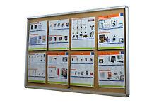 Lockable Notice Board 8xA4 Indoor Cork Board Pin Board
