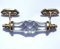 medium clear door handle of brass and cut glass (one) antique style