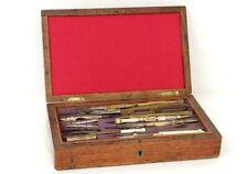 Boîte à compas coffret noyer laiton doré mesure Napoléon III XIXème siècle