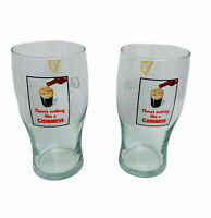 Guinness Beer Glass Set Draught Stout Embossed Theres Nothing Like Pint 20 Oz