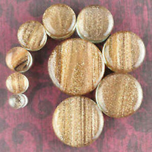 """PAIR-Glass Golden Sand Saddle Flare Ear Plugs 12mm/1/2"""" Gauge Body Jewelry"""