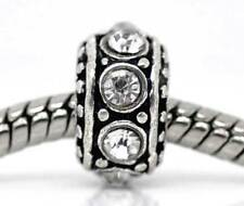 Clear Rhinestone April Birthstone Ring Bead fits Silver European Charm Bracelets