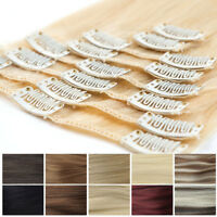 Clip in Hair Extensions 100% Natural Remy 8 Pieces Full Head Real Human Hair Pcs