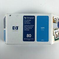 HP 80 Cyan 350ML Ink Cartridge C4891A New Open Box 2008 HG29