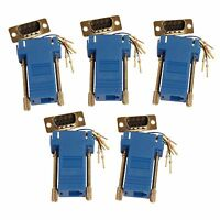 5 Pack Blue Male DB9 9 Pin Serial RJ11 RJ12 6 conductor Serial Modular Adapter