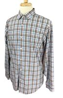 Banana Republic Men's Slim Fit Non Iron Blue Black Red Check Shirt Large