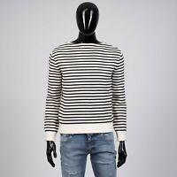 CELINE HOMME 1350$ Zipped Boat Neck Sweater In Wool Blend Striped Knit