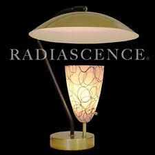 STREAMLINE ATOMIC SPACE AGE MODERN BRASS GROSSMAN SAUCER TABLE LAMP '50 SARFATTI