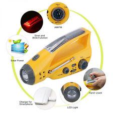 Solar/Hand Crank Dynamo Emergency LED Flashlight Torch+Alarm+Phone Charger+Radio